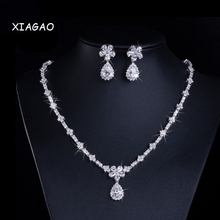XIAGAO AAA+ Cubic Zirconia Wedding Necklace And Earrings Luxury Crystal Bridal Jewelry Sets For Bridesmaids