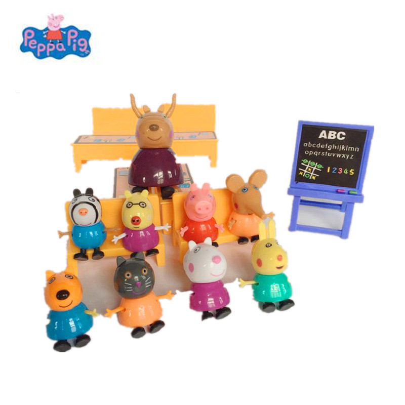 <font><b>Peppa</b></font> <font><b>pig</b></font> George guinea <font><b>pig</b></font> <font><b>Family</b></font> <font><b>Pack</b></font> Dad Mom Piggy teacher Action Figure Original Pelucia Anime Toys Set For Kids children