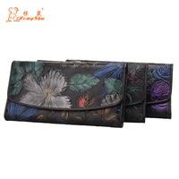 Embossing Flower Women Wallet Genuine Leather Female Purse Long Printing Floral Women Retro Leather Wallet Clutch