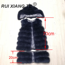women real fur coat natural fox vest with zipper hood warm winter luxury full pelt