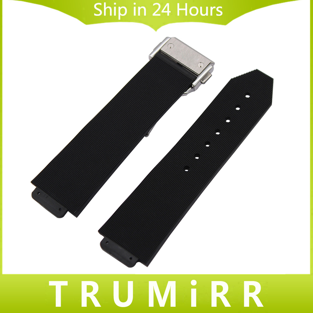 23mm 26mm 28mm Silicone Rubber Watchband 15mm 19mm Convex Strap for HUB Replacement Watch Band Steel