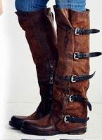 Winter belt buckle folding   boots   women's   boots   Women   Boots   Zipper Square Heel Round Toe Buckle Solid Autumn Winter   Boots   Female
