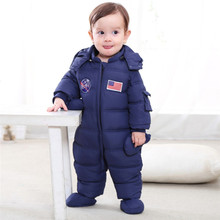 2018 RU Winter Baby Outerwear Baby Snowsuit Infant Boy Girl Cartoon One-piece Outfit Down Cotton Children Clothing