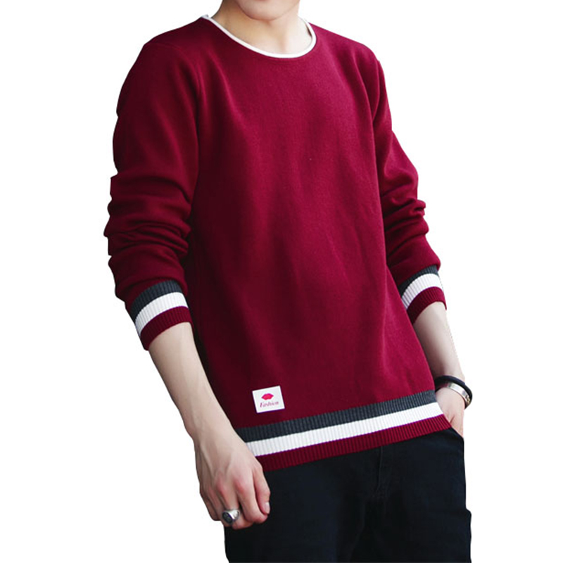 2017 Autumn Winter New Mens Casual Sweater Black Red Blue Gray Fashion Classic Men Slim Cotton Pullover Sweater Brand Clothing