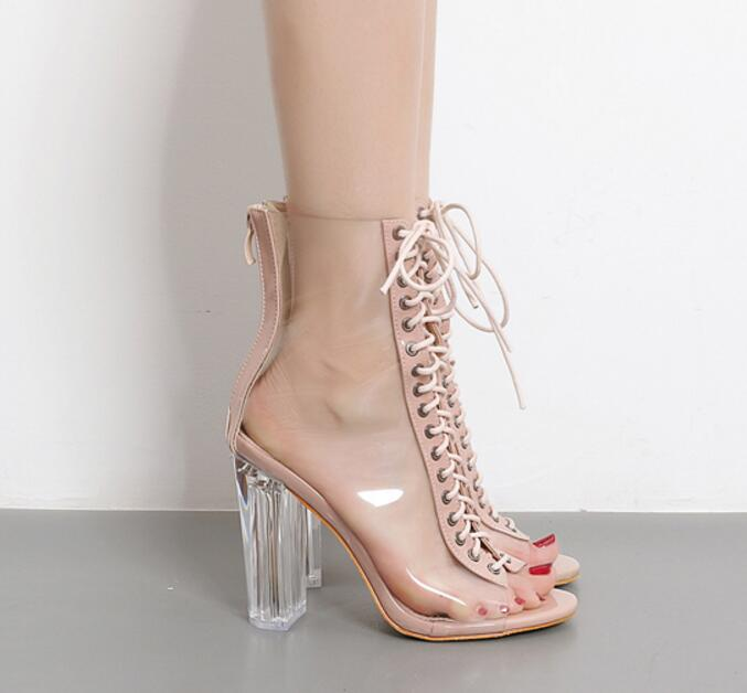 2018 summer new style European and American Leather transparent plastic PVC fish mouth strap with high boots, thin shoes and high heeled san