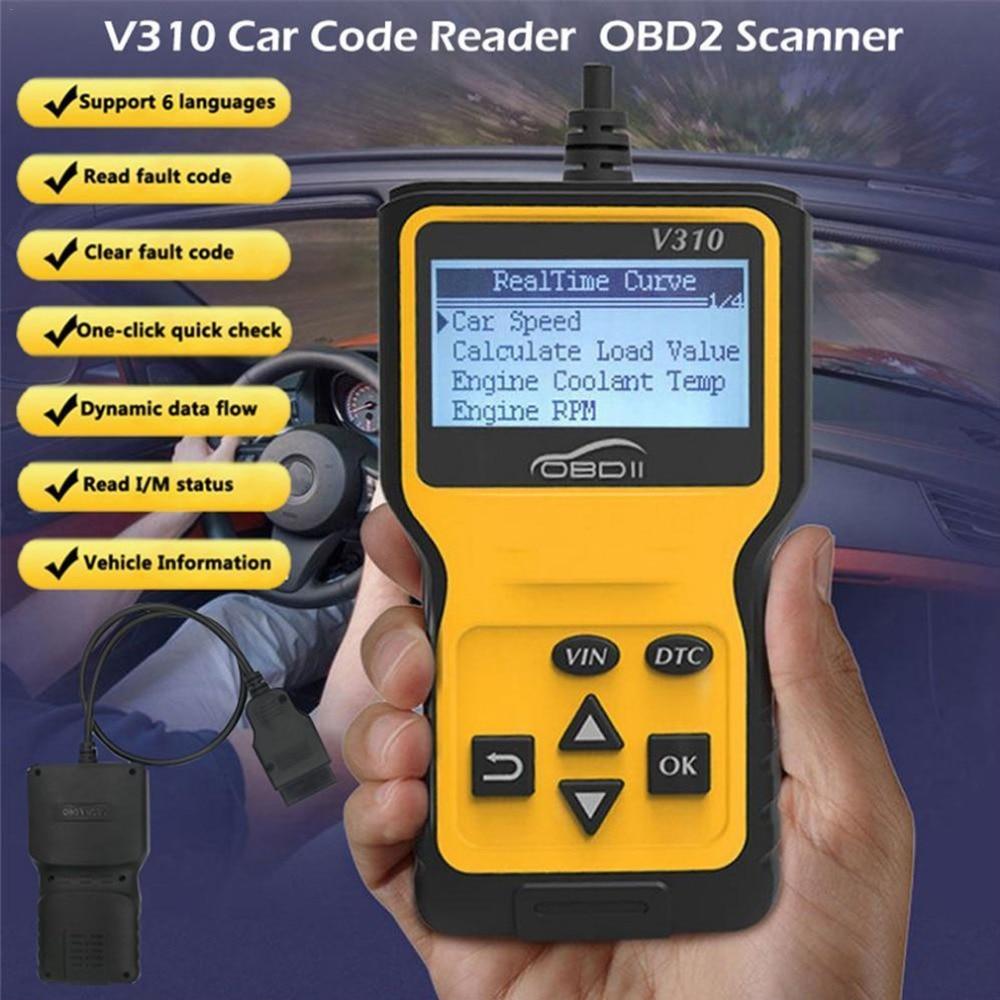 OBDII EOBD CAN Auto Code Scan Tool v310 Code Readers&Scan Tools obd2 car fault code scanner V1.1 16pin Male Scanner obd2 - 2