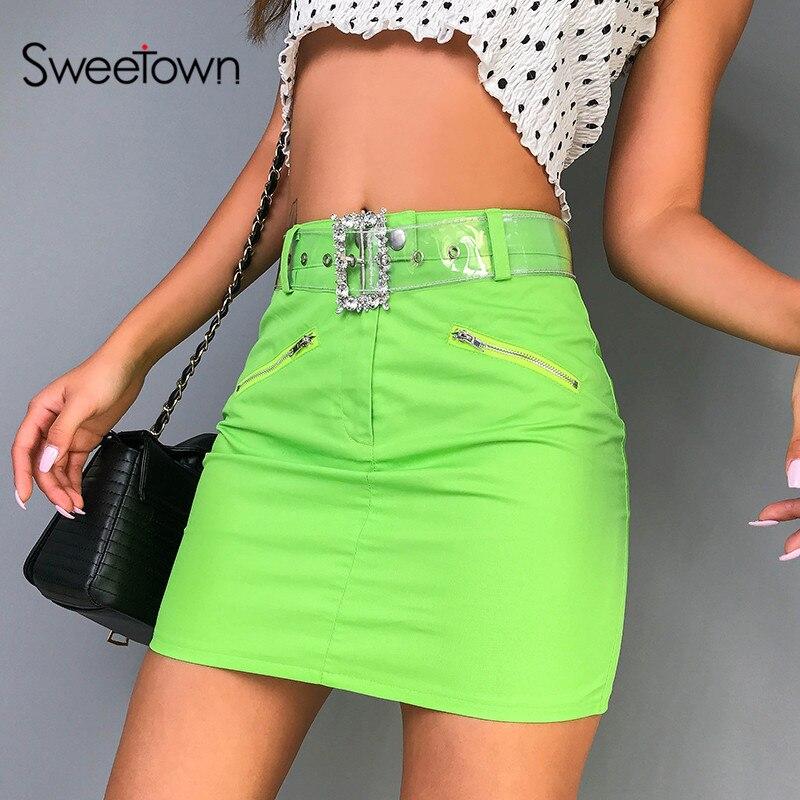 Sweetown Fluorescent Green Korean Skirt Streetwear Mock Zipper Design Chic Steampunk Skirts Womens Summer 2019 Mini Skirt Cotton