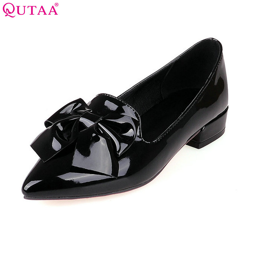 купить QUTAA Ladies Shoes Woman Shoes Pink Bow Tie Woman Pumps PU Patent Leather Square Low Heel Women Wedding Shoe Size 34-43 дешево