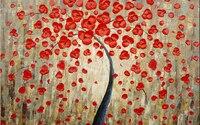 팔레트 나이프 그림 유화 꽃 작품 벽 100% 손으로 만든 현대 질감 홈 장식 예술