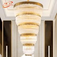 Large Big Modern Crystal Chandelier Lighting LED Stair Cristal Chandeliers Hanging Light Long Staircase Chandelier Crystal Lamp