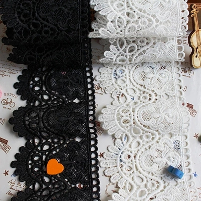 1yard Lace Fabric White Black Cotton Thread Embroidery High Quality Sweing DIY Width 9cm Handmade Materials Garment Accessories