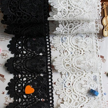 2yards lace fabric white black cotton thread embroidery High quality sweing DIY width 9cm handmade materials garment accessories cheap NoEnName_Null Embroidered Polyester Cotton Mesh Eco-Friendly needlework lace handmade craft diy material