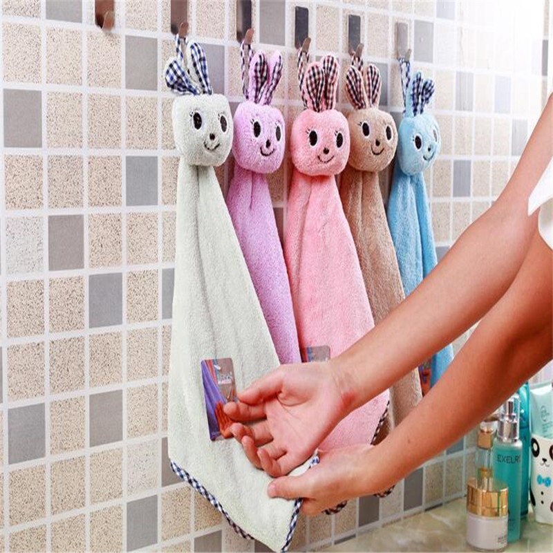 1PC Cute Rabbit Hand Towel For Kids Chidren Microfiber Absorbent Hand Dry Towel Kitchen Bathroom Soft Plush Dishcloths