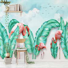 beibehang Custom Photo Wallpaper Mural Nordic Simple Hand Painted Tropical Leaves Flamingo TV Background Wall papel de parede 3d beibehang papel de parede european style hand painted rainforest creek banana leaves mural background wall 3d wallpaper mural
