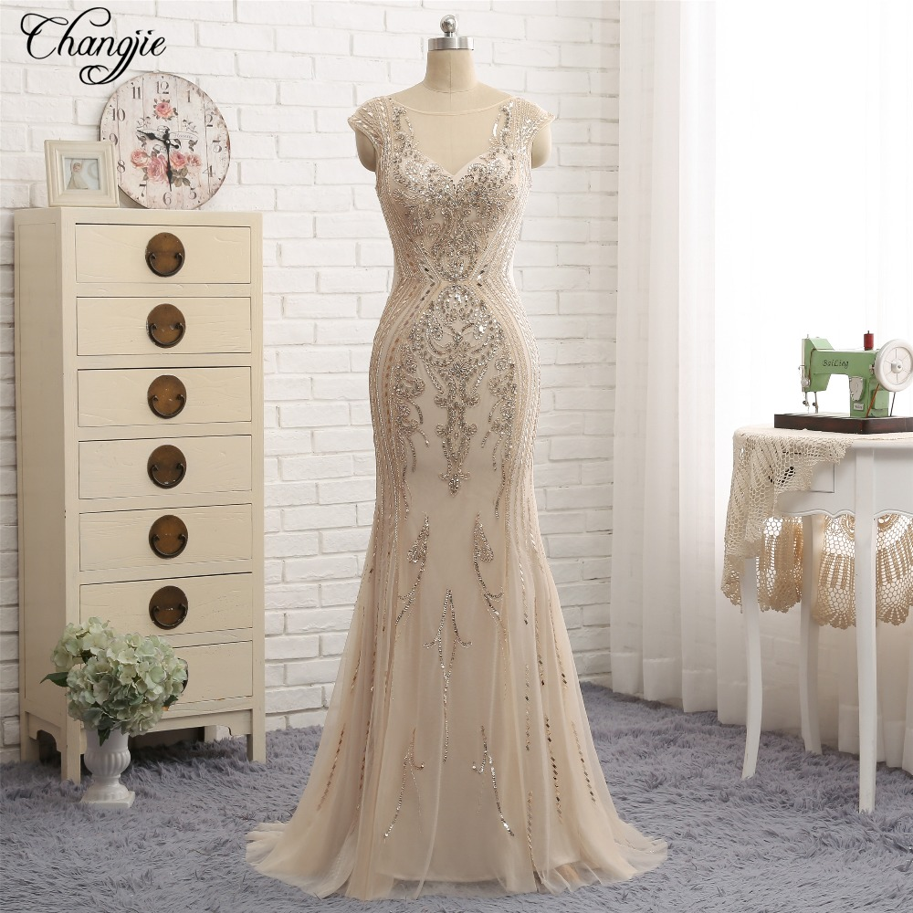 Sexy New Long Prom Dresses 2018 Scoop Neck Cap Sleeve Floor Length Beading Tulle Mermaid Evening