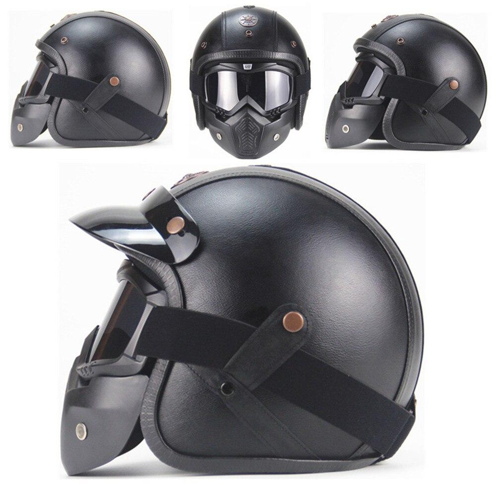 Nouveau rétro Vintage Moto casque Chopper Scooter cuir synthétique 3/4 visage ouvert Moto casque DOT masque lunettes