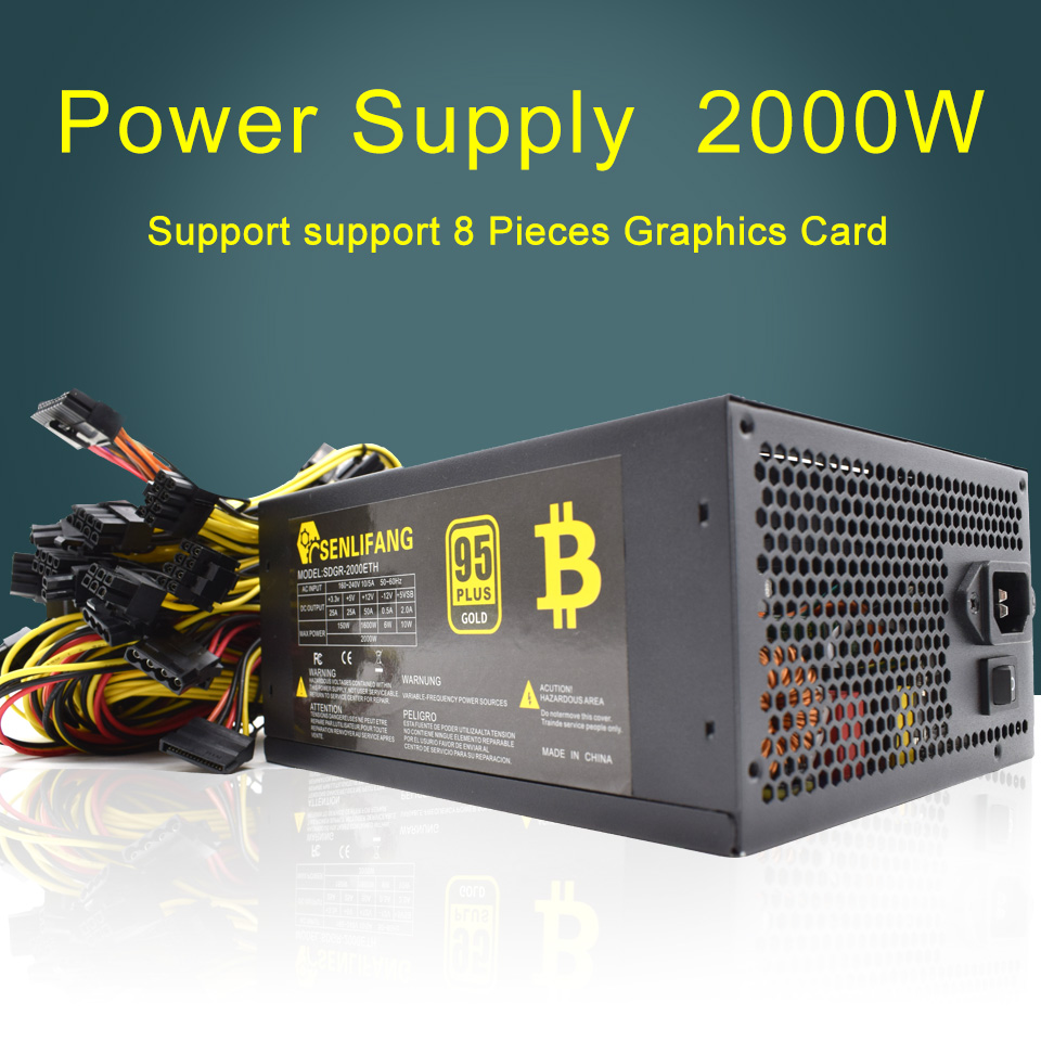 2pcs 2000W Power Supply 95% High Efficiency for Ethereum S9 S7 L3 Rig Mining 180-260V for bitcoin miner asic bitcoin Mining