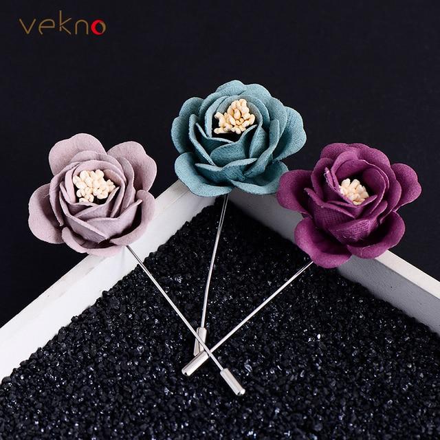 VEKNO для мужчин нагрудные Брошь В Виде Цветка на булавке для костюмы Multi Цвет Свадебные цветок корсаж куртка шпильки с отворотом ювелирные изделия ручной работы