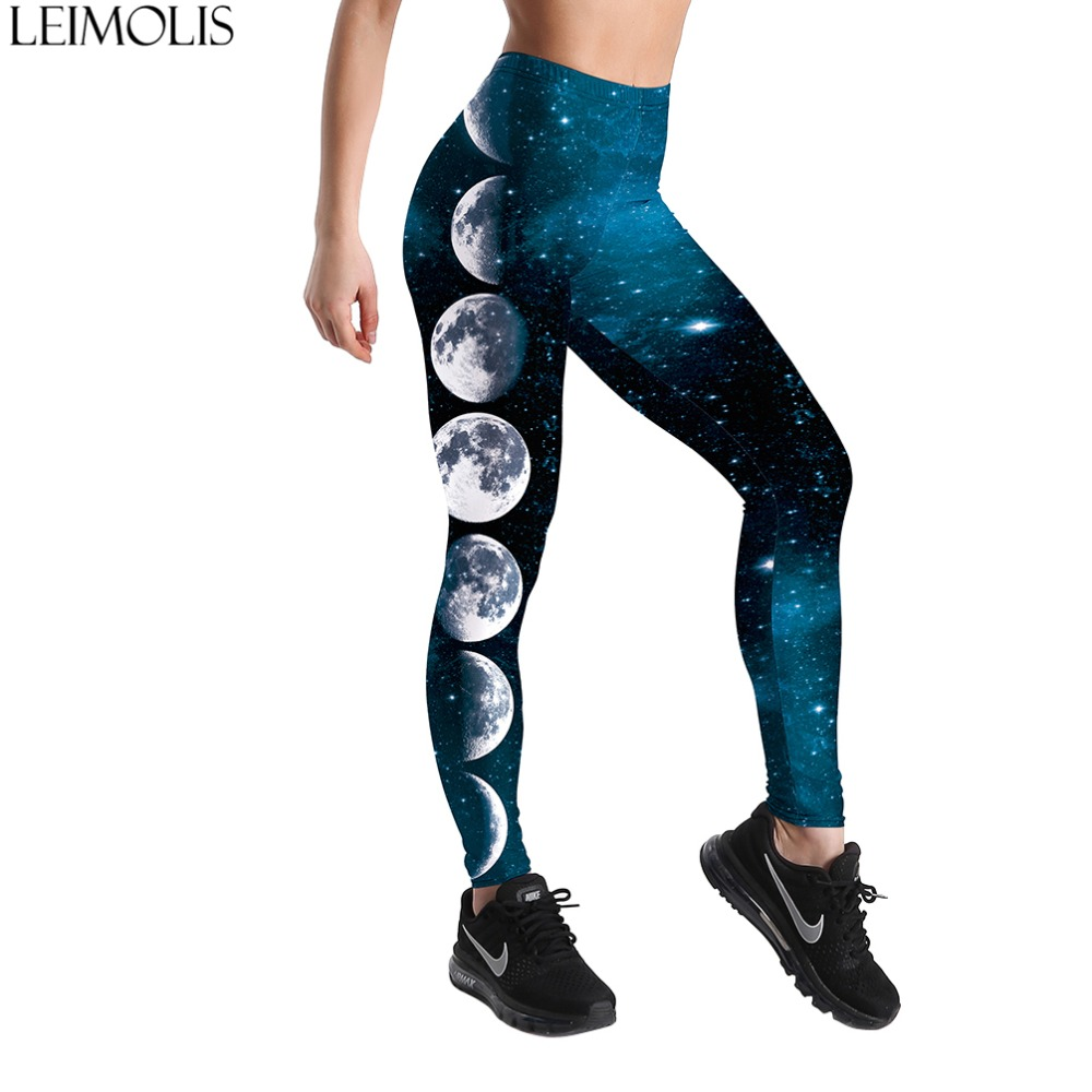 LEIMOLIS 3D printed galaxy Moon blue harajuku gothic sexy plus size high waist push up fitness workout   leggings   women pants