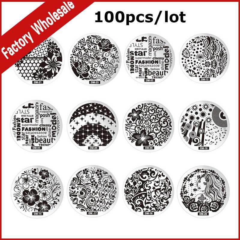 100 pièces nouveau mode Nail Art modèle bricolage ongles Image plaques vernis conception impression timbre estampage pochoir moule manucure outils