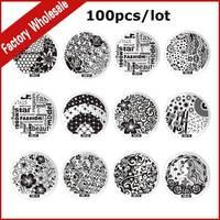 100 stks Nieuwe Mode Nail Art Template DIY Nail Afbeelding Platen Polish Ontwerp Afdrukken Stempel Stamping Stencil Mould Manicure Gereedschap