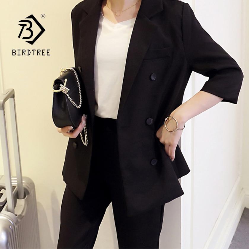 2018 Spring New Solid Office Lady Women Slim Elegant Black Blazer Jacket + Calf-Length Harem Pants 2 Piece Set Hot Sales S83616F