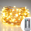 30M 300 Leds Outdoor Battery Operate Christmas Fairy Lights Warm White Copper Wire LED Starry Light String Lights With Remote