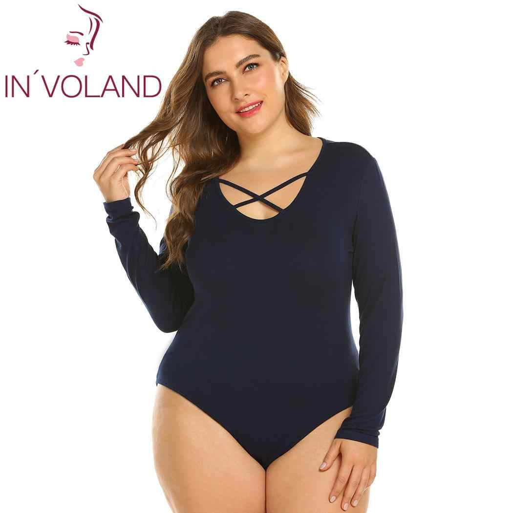 592e2420ba IN VOLAND Plus Size Women Jumpsuits Cross O-Neck Long Sleeve Bodysuit  Leotard Tops
