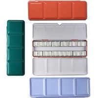 Aquarelle vide peintures boîtes boîte Palette peinture stockage avec 6/12 casseroles complètes et 12/24 demi-casseroles pour Art peinture fournitures