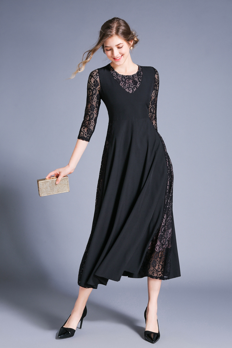 Retro Swing Hollow Out Lace A-Line Black Dress 5