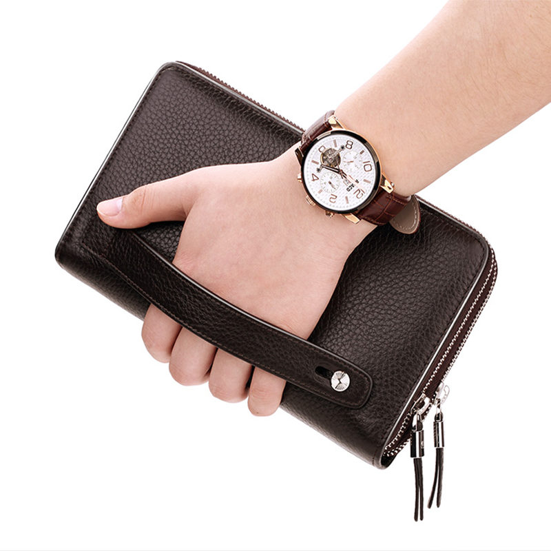 WILLIAMPOLO Leather Vintage Solid Clutch Bag Phone and Card  Brand Mens Wallet Double Zipper Genuine Leather Handy Purse pl163