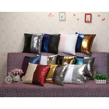 Fashion Sequin Cushion Case Luxurious Two Tone Continental Mermaid Decorative  Pillow Case DIY Throw Home Pillow