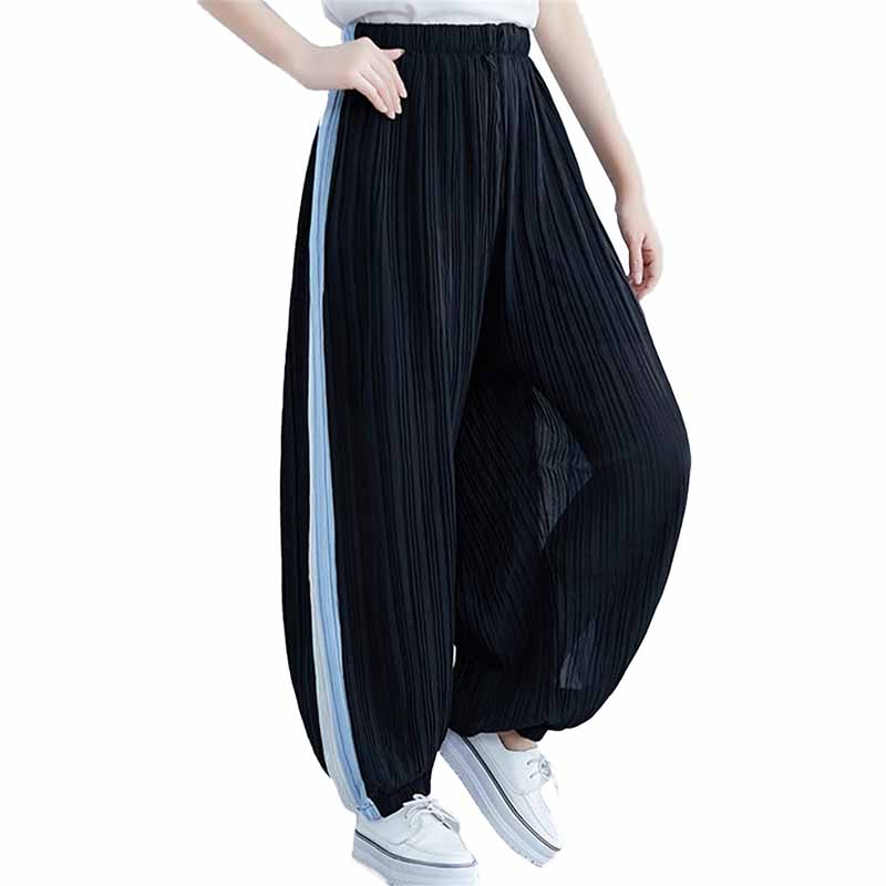 2019 Summer Casual Chiffon   Wide     leg     pants   Women Elastic waist Loose Bloom   Pants   Female Elegant Trousers Plus size XXL-5XL G483