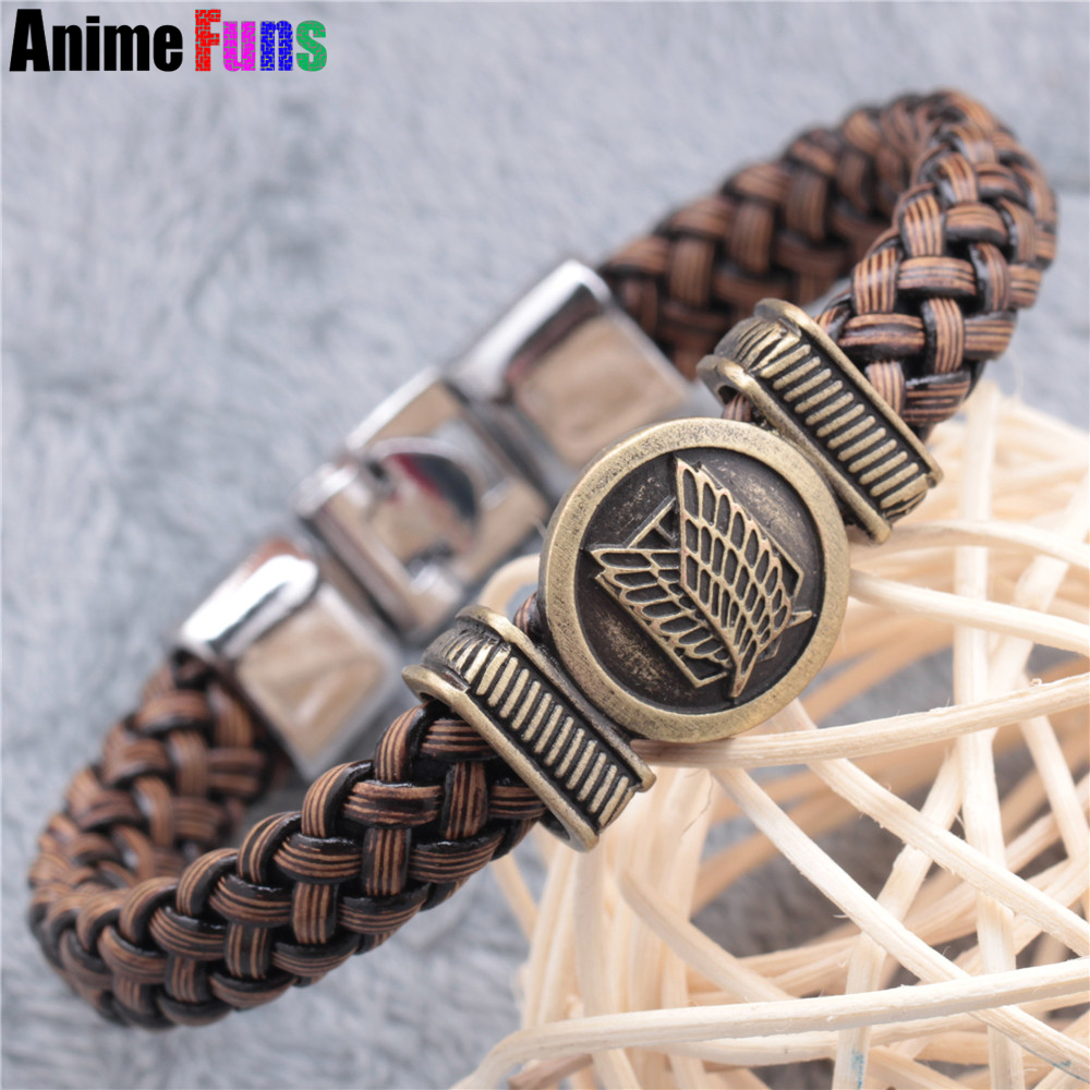 Anime Attack On Titan Woven Bracelet Shingeki No Kyojin Wings of Liberty Logo Charm Men Women Bangle Cosplay Collection drop-shi