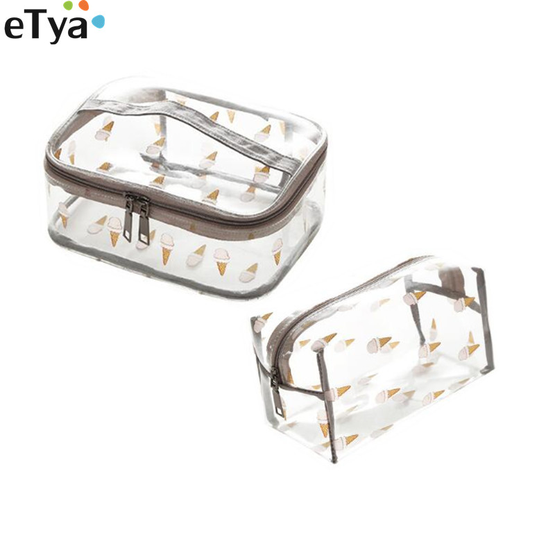 Travel PVC Transparent Make Up Bag Clear Waterproof Women Small Big Cosmetic Bags Wash Organizer Pouch Tote Case custom transparent clear pvc make up tote bag with double handles