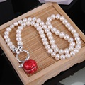 Thomas Freshwater Pearl Necklace with Open-able Locket Red Apple Pendant, Glam Jewelry Soul Gift for Women TS-N298