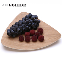 JUH European Style Fruit Tray Wood Modern Fashion Snack Plate Creations Wooden Fruit Dessert Servies Dish Prato Tray Tableware