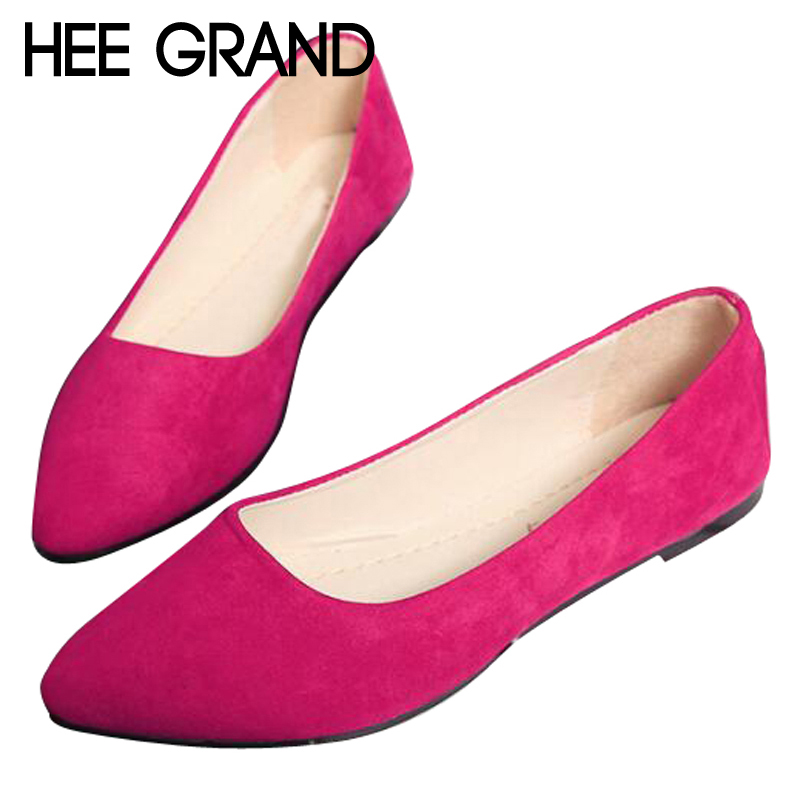 HEE GRAND Women Flats Candy Color Flock Vamp Women Pointed Toe Elegant Women Shoes Causal Shoes Slip-on lady'shoes XWD6240 daitifen 2018 spring elegant mental buckle pointed toe ladies flat shoe fancy flock shoes women flats casual slip on women flats
