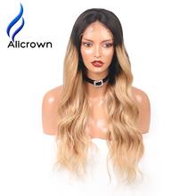 Alicrown Body Wave Ombre 1B/27 Ombre Color lace Front Wigs For Black Women Remy Hair Brazilian Human Hair Wigs Pre Plucked