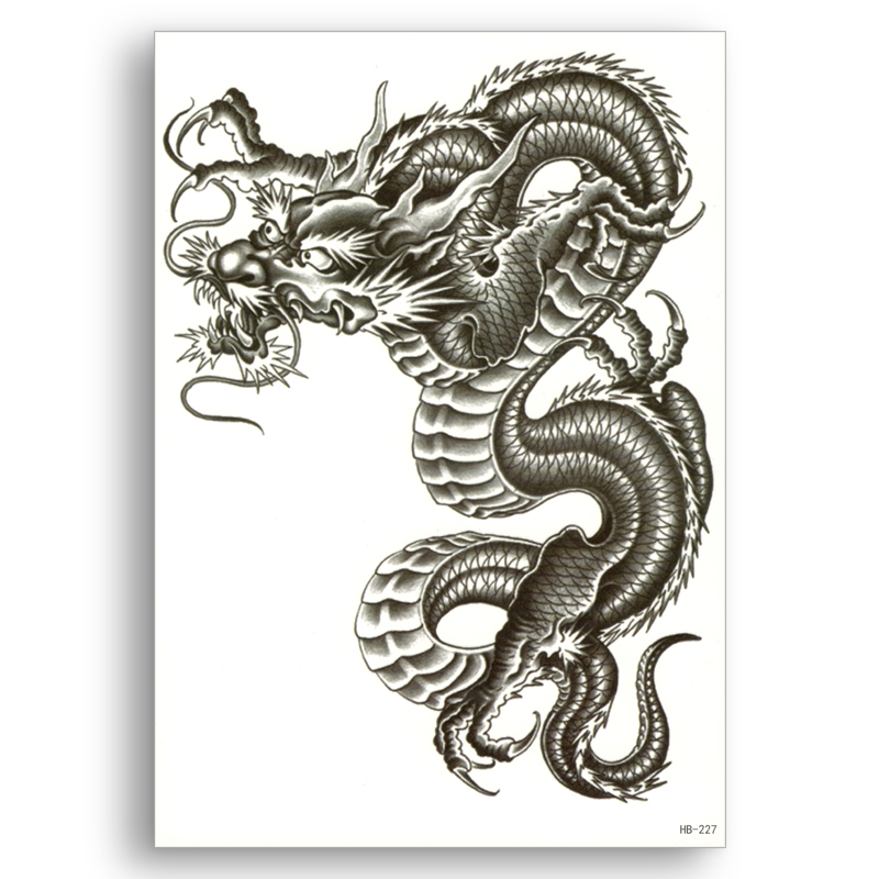 Chinese Dragon Fake Tattoo Water Transfer Waterproof Temporary Sticker Women Men Sexy Beauty Body Art Cool Stuff Cheap Fine