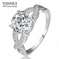 YANHUI Luxury Brand White Gold Filled Round 2 Carat Simulated Diamant Engagement Wedding Rings For Women YR108