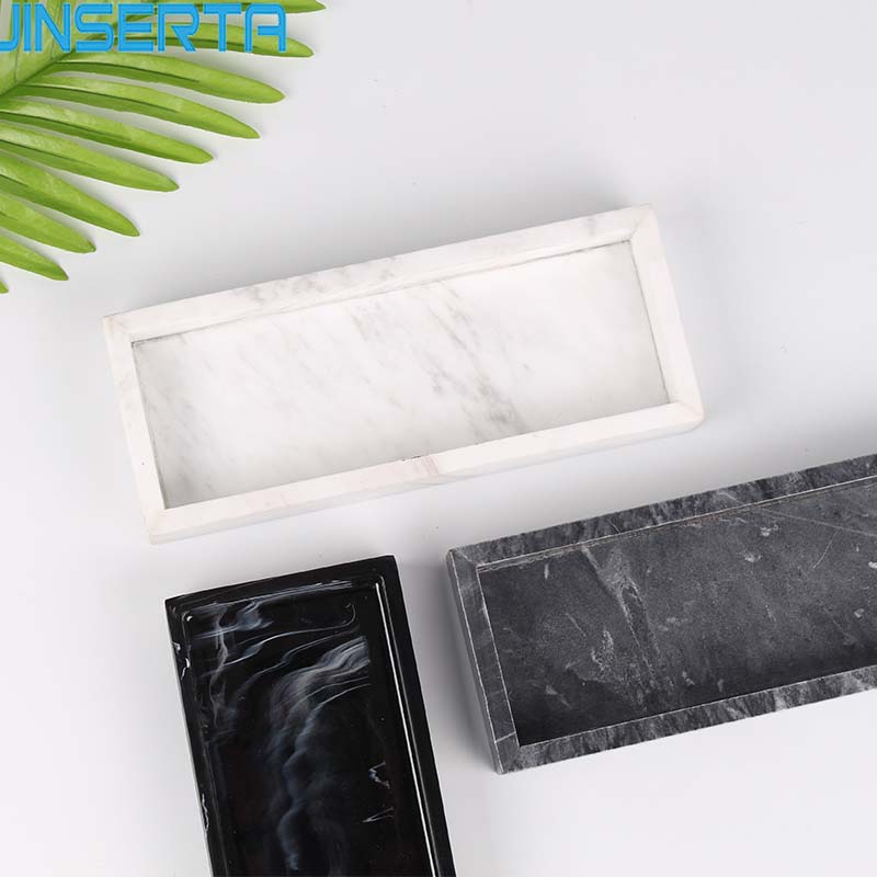JINSERTA Marbled Storage Tray Resin Jewelry Display Plate Cosmetic Organizer Rectangle Home Restaurant Hotel Serving Tray