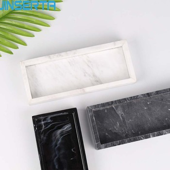 JINSERTA мраморный поднос для хранения ювелирных изделий, акриловая витрина, косметический Органайзер, прямоугольник, домашний ресторан, гостиничный сервировочный поднос