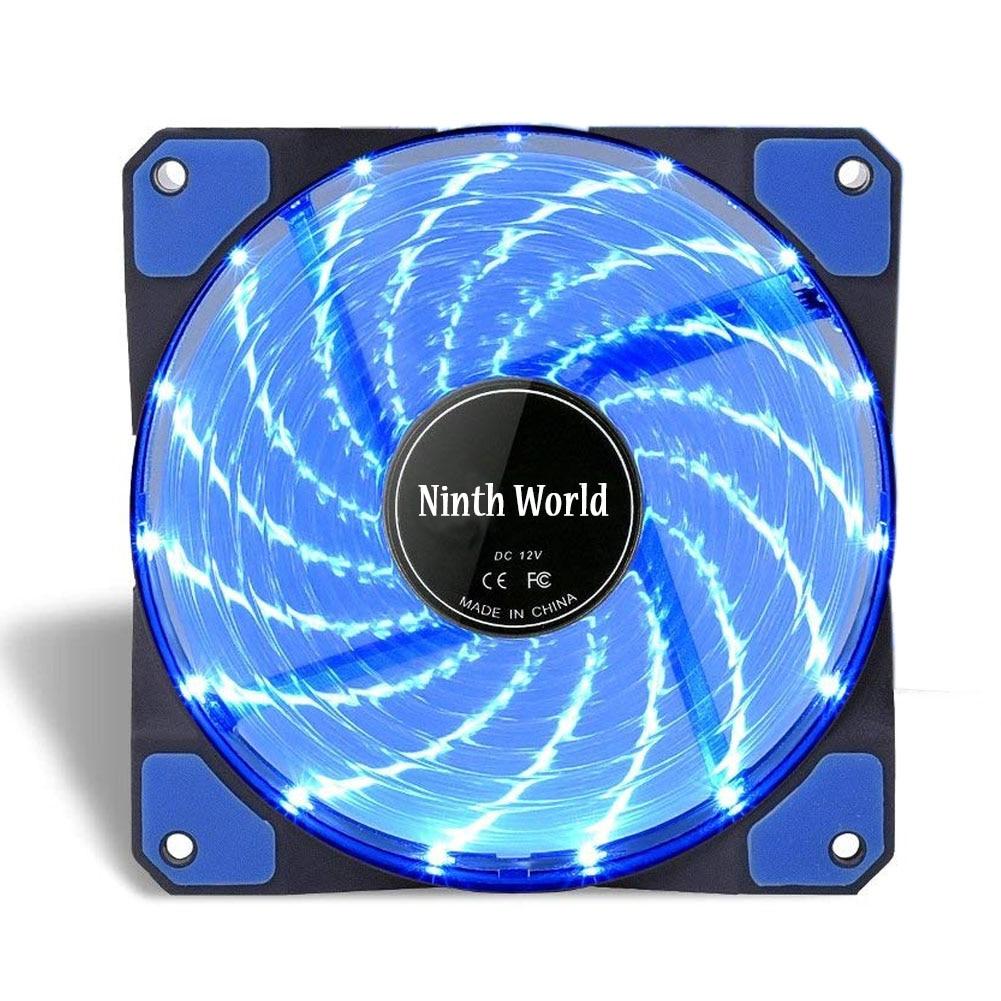 120mm LED Ultra Silent Computer PC Case Fan 15 LEDs 12V Cpu Heatsink Cooler Master Cooling Fan DC 12V 4P 3P Connector