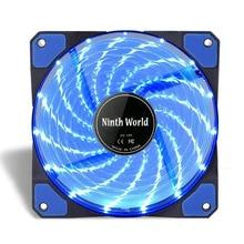 120mm LED Ultra silenciosa de la PC de la computadora ventilador con cubierta 15 LEDs 12V CPU disipador enfriador maestro ventilador de refrigeración DC 12V 4P 3P