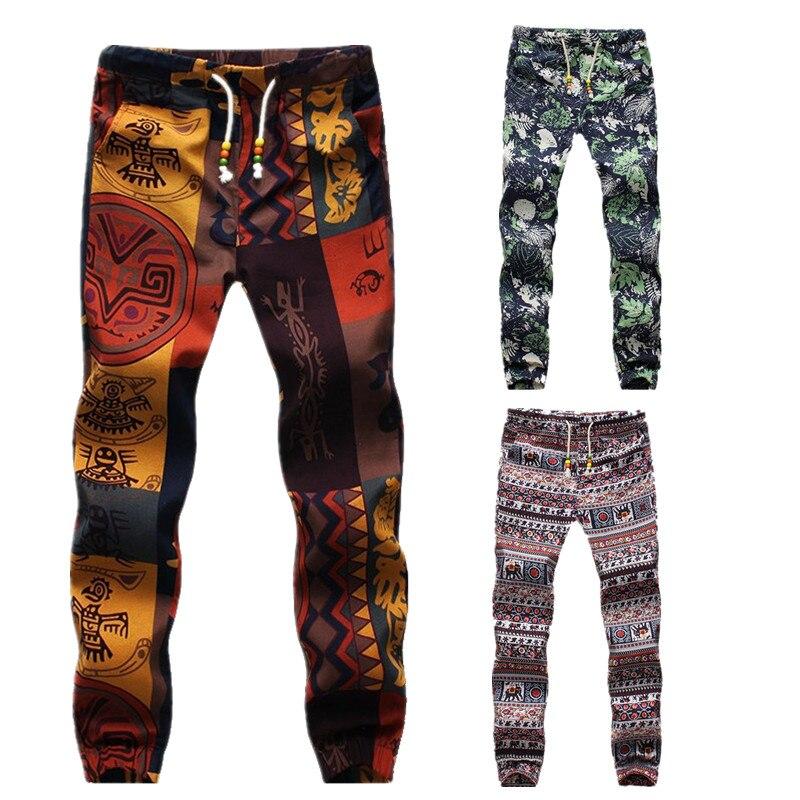 Pantalones Harem pantalones holgados patrón exótico cordón Lino ...