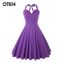 OTEN Women Sexy Summer Audrey Hepburn Style Halter Rockabilly Vintage Retro 50s 60s Pin up Skater Swing Casual Midi Purple dress цена 2017