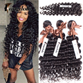 Hot Tangdola Hair With Closure And Bundles Briziian Deep Wave Virgin Wet Hair 3 Bundles With Tissage Bresilienne Avec Closure