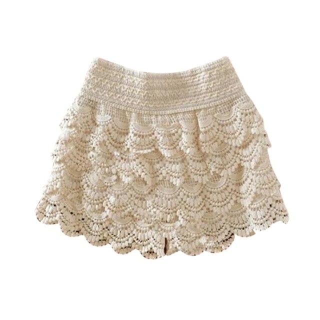 Summer Fashion Womens Shorts Sweet Style Lace Crochet Elastic Waist Slim Short Pants Plus Size