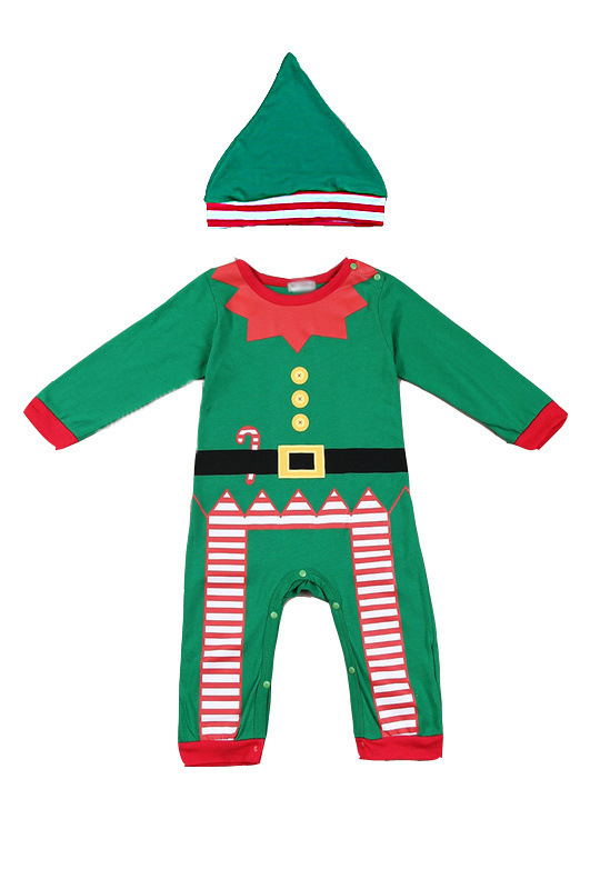 a58d7231829 Retail infant Xmas cap clothing boys girls long sleeve Christmas rompers  kids baby red green Santa Claus romper with hat gift-in Rompers from Mother    Kids ...